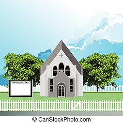 Rural Christian parish church building with blank notice board for own text set against a blue cloudy sky