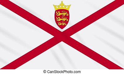 Parishes of Jersey flag waving cloth, ideal for background, loop