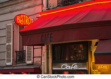 Parisian Bistro - A neon sign and red awning of a typical...