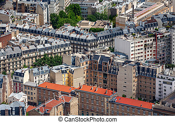 Parisian buildings. - View from above on typical parisian...