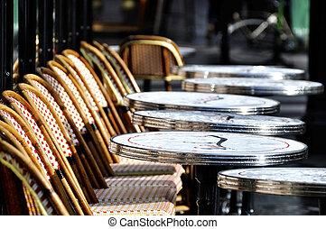 Parisian cafe terrace after the rain
