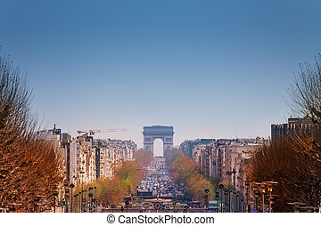 Parisian cityscape with Triumphal Arch in spring