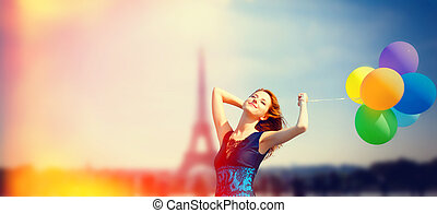 parisian, cor, eiffel, ruivo, backg, menina, balões, torre