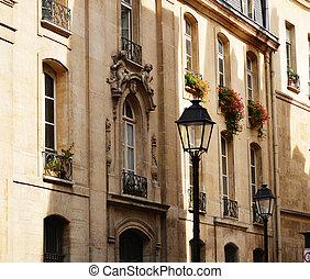 parisian, histórico, arquitetura, original