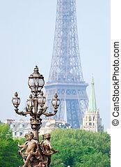 Parisian icon - Vintage lamppost on the bridge of Alexandre...