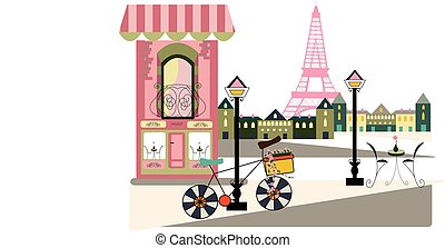 parisian scene with bycicle - illustration of a parisian...