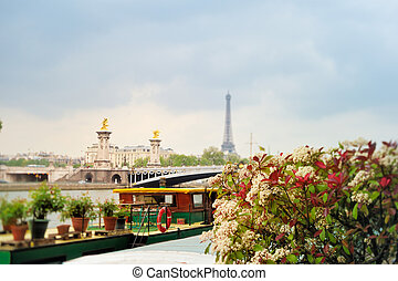 View of bridge Alexander III and Eiffel tower in Paris