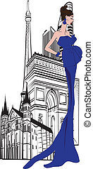 Parisian woman on a background of c