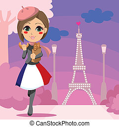 Parisien Girl - Cute girl walking with a bag of bread and...