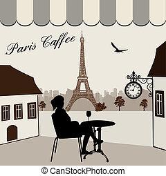 parisiense, calle, restaurante