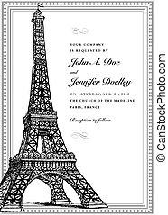 parisiense, marco, vector, florido
