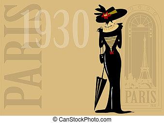 Paris,retro,character,mode,fashion - Paris,, retro,...