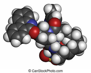 Paritaprevir hepatitis C virus (HCV) drug molecule (NS3-4A serine protease inhibitor). Atoms are represented as spheres with conventional color coding: hydrogen (white), carbon (grey), oxygen (red), nitrogen (blue), sulfur (yellow).