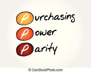 pariteit, macht, acroniem, -, kopen, ppp