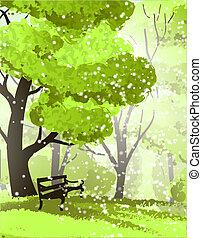 park., árboles, banco