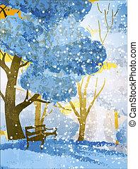 park., árboles invierno, banco