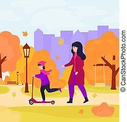 park., βόλτα , καβαλλικεύω , πατίνι , κορίτσι , κόρη , μητέρα , φθινόπωρο