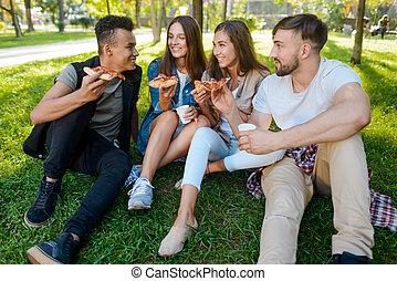 park., סיפורים, לאכול, אנשים, מצחיק, פיקניק, צרור, לומר, צעיר, פיצה
