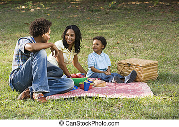 park., ピクニック, 家族