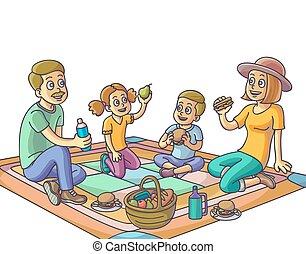 park., ピクニック, 持つこと, 家族, 幸せ