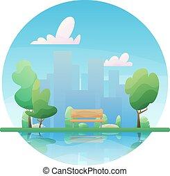 park., ベクトル, 湖, 木, 平ら, illustration., スタイル, ベンチ