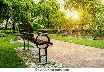 park 긴 의자, 와..., 나무