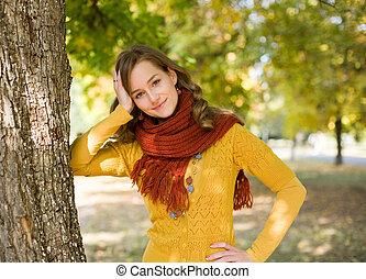 park., 유행, 소녀, 다채로운, 가을