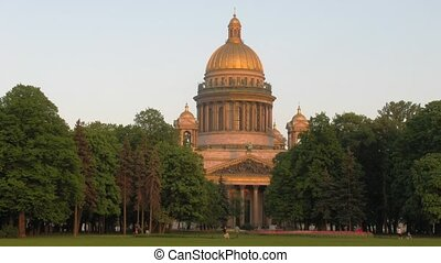 Park about St Isaac`s cathedral in summer day. Sankt-Petersburg, Russia.
