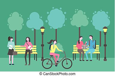 Park Activities, People Sitting Chatting Outdoors - Park...