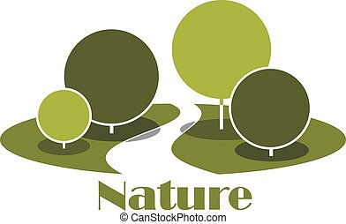 Park abstract icon with shady alley between green lawns and trees, with lush crowns isolated on white background, for nature or landscape design