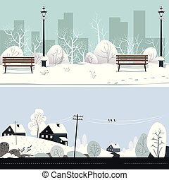 Park and countryside in winter, snowy landscape, benches and houses