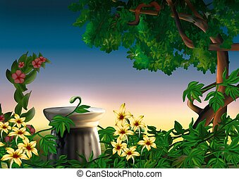 Park and flowers - Highly detailed cartoon background 45 - illustration