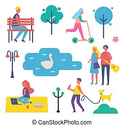 Park and People in Summer Vector Illustration