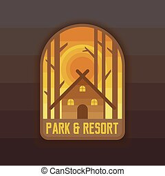 Park and resort badge design for camping, hiking and expedition.