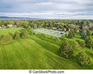 park and tennis courts aerial view
