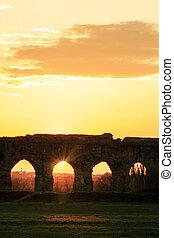 park, aquaducten, -, italië, rome