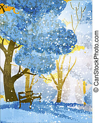 park., arbres hiver, banc