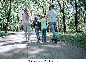 park., arrière, view.modern, famille, promenade