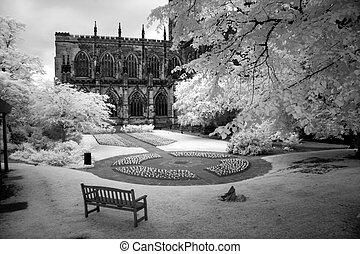 Park at cathedral in Bath, England, UK