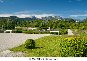Park at lake Forggensee in Bavaria - Germany