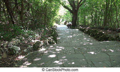 Park at the Monastery Aladza. Varna. Bulgaria. 4K. - Park at...