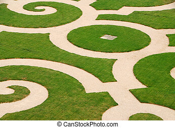 Park at Versailles - Beautiful curved lawn at Versailles...
