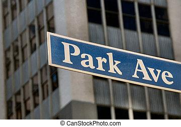 Park Avenue plaque in Manhattan, NYC