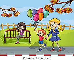 park, balloon, meiden, twee, vasthouden, geitje
