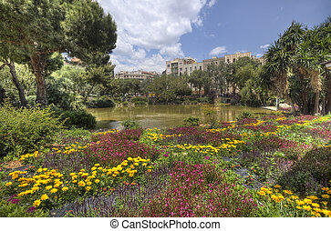 Park behind the Sagrada Familia in Barcelona, Spain