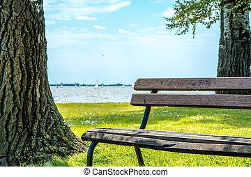 Park bench besides Palic lake