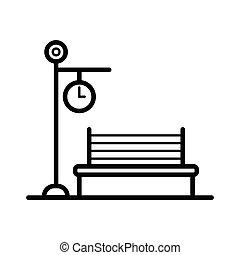 Park bench icon vector illustration