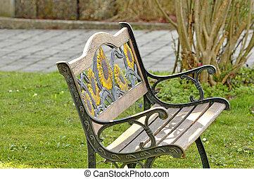 park bench in a garden