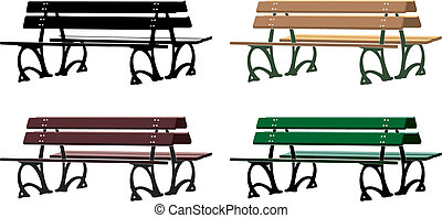 Italian park bench silhouette and three different colour arrangements