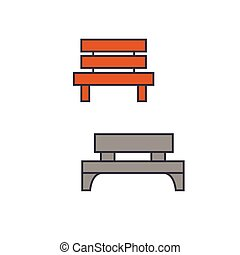 Park bench line icon concept. Park bench flat vector sign, symbol, illustration.